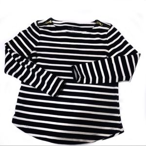 TALBOTS Navy & White striped long sleeved shirt